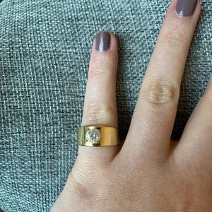 Vintage 18KT Gold Electroplated Ring with CZ
